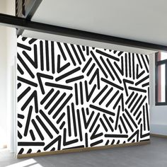 Retro Pop Wall Mural A pop art pattern wall mural with black lines and chevrons with rounded ends, on a white background. Available in both removable peel-and-stick and permanent wallpapers. Printed with child-safe inks. Wall Paint Patterns, Pop Art Patterns, Wall Paint Colors, Painting Patterns, Pattern Art, Mural Wall Art, Vinyl Wall Art, Vintage Modern, Paintings Tumblr