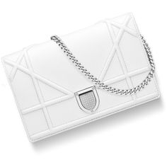 """""""DIORAMA"""" WALLET ON CHAIN POUCH IN WHITE GRAINED CALFSKIN ❤ liked on Polyvore featuring bags, wallets, purses, chain wallet, calf leather wallet, pouch bag, chain pouch and calfskin wallet"""