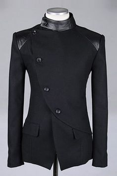 Richard look 2 shoulder detail Men Fashion British Style Long Sleeve Slant Buttons Design Black Polyamide Coat M/L/XL Mens Fashion Suits, Mens Suits, Mode Man, Jackett, Sherwani, Mode Outfits, Casual Outfits, Mode Style, Punk Outfits