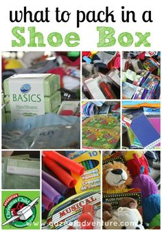 """what to pack in a shoe box....I also like getting plastic shoe boxes from the dollar store, so they have a box to put their """"treasures"""" in."""