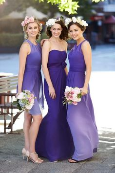 Bridesmaids Dresses Australia 2015 Ombre Bridesmaid Dresses Real Pictures Jewel Neck Pleated Chiffon A Line Purple Prom Gowns With Floor Length Or Knee Length Floral Bridesmaid Dresses From Nicedressonline, $117.48  Dhgate.Com