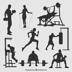 Working out sport silhouettes Training SVG dxf eps by PrintShapes