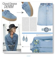 """""""All Denim"""" by talvadh ❤ liked on Polyvore featuring Marc Fisher LTD, STELLA McCARTNEY, Kenneth Cole, GUESS, denimshirt, denimskirt and alldenim"""