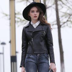 FREE SHIPPING 2017 Women Fashion Black Genuine Leather Jacket Oblique Zipper Real Sheepskin Slim Fit Lady Winter Popular Coat