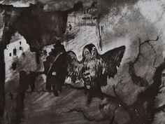 """Ce détail d'un dessin de Victor Hugo représente un chouette qui louche, étendant ses ailes, sur un arbre mort, devant une ruine ou une habitation délabrée. Saturne est cachée dans le ciel - Lié au poème """"Saturne"""" du recueil """"Les Contemplations"""" (""""Les Luttes et les Rêves"""") de ce même Victor Hugo."""