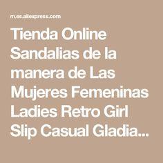 Tienda Online Sandalias de la manera de Las Mujeres Femeninas Ladies Retro Girl Slip Casual Gladiador PU Cadena de Bolas de Goma Flip Flop Primavera Verano CS-B-2   Aliexpress móvil