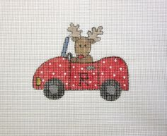 Rudy Reindeer in Red Convertible Car Christmas Handpainted Needlepoint Canvas