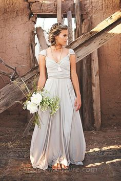 Classical Grey Chiffon Queen Anne Long Ruched Bodice Bridesmaid Dress