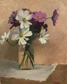 """Looking for unique gift ideas? I have over 50 paintings for sale at a wide range of prices, (starting at $50) pictured here: """"November Cosmos"""" 7x9 oil on linen, $500. Link to online store is in my profile  thanks for checking it out! #allaprima #flowerpainting #oilpainting #stilllifepainting #art #sketch @gamblincolors"""