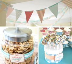 I am so in love with this vintage circus party from my fabulous customer Jennifer. She thought of every detail; coordinating sugar cookies, cotton candy, swirly lollipops and popcorn party…