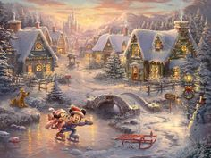 Mickey and Minnie Sweetheart Holiday Thomas Kinkade art for sale at Toperfect gallery. Buy the Mickey and Minnie Sweetheart Holiday Thomas Kinkade oil painting in Factory Price. Thomas Kinkade Puzzles, Thomas Kinkade Art, Thomas Kinkade Christmas, Thomas Kinkade Disney Paintings, Disney Pixar, Walt Disney, Disney Mickey, Christmas Scenes, Disney Christmas