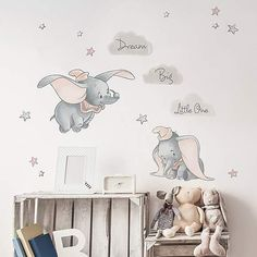 Dream big little one! These Disney Dumbo wall stickers are an ideal finishing touch for a kids bedroom or nursery. Easy to apply, the high quality wall stickers will look great when used to decorate a bedroom. Self adhesive and fully removable. Disney Baby Rooms, Disney Baby Nurseries, Disney Bedrooms, Disney Nursery, Disney Babies, Baby Bedroom, Baby Boy Rooms, Kids Bedroom, Baby Boys