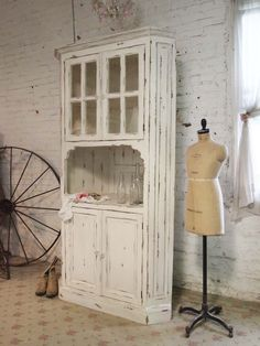 Painted Cottage Chic Shabby Farmhouse Cabinet [CC55] - $695.00 : The Painted Cottage, Vintage Painted Furniture
