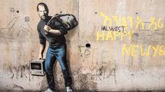 STEVE JOBS I CALAIS: Den verdenskjente grafittiartisten Banksy står bak dette portrettet av Apple-gründer Steve Jobs. Foto: AFP/Philippe Huguen