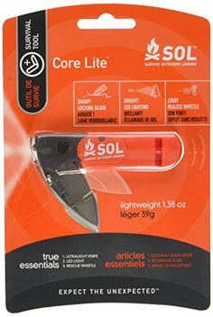 SOL Core Lite Survival Tool with Knife Light and Whistle by Adventure Medical Kits *** Check this awesome product by going to the link at the image.