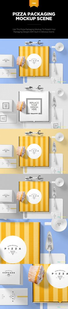You can also remove any of the unwanted item from the scene. #free #freebie #mockup #psd #photoshop #pizza #packaging #box #food