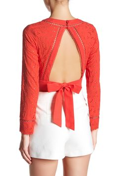 Cropped Long Sleeve Eyelet Lace Blouse by endless rose on @nordstrom_rack...Would also look pretty as a saree blouse