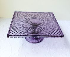 ~Deep Lavender Depression Glass Style Pedestal Cake / Cupcake Stand~