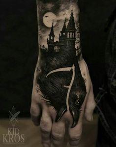 Tattoo Crow Krähe Castle Schloss Gothic Nacht