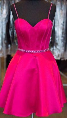Spaghetti straps homecoming dresses, sexy homecoming dresses, fuchsia homecoming dresses, dress for homecoming, homecoming dresses with beaded, 2016 homecoming dresses, homecoming dresses 2016