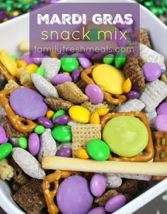 Here's a cheery little recipe to get you started: Mardi Gras Snack Mix. It's like a Mardi Gras parade in a bowl - a mix of bright colors and sweet and salty flavors.