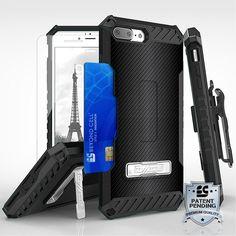 Tri Shield For Apple iPhone 7 Plus Carbon Fiber, Belt Clip Holster, Tempered Glass