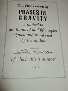 Signed Limited Edition of Phases of Gravity by Dan Simmons Leather Bound Fine