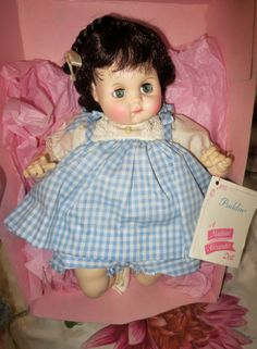 """Madame Alexander Puddin 14""""  Baby Doll Mint in Box No 3930 Brown Hair Blue Dress"""