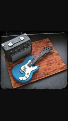 Mini Guitar And Amp Cake, fun combo for a birthday party for future rockstars. Cake decorating inspiration and ideas Birthday Cakes For Men, Guitar Birthday Cakes, Funny Birthday Cakes, Guitar Cake, Birthday Ideas, 50 Birthday, Birthday Parties, Music Themed Cakes, Music Cakes