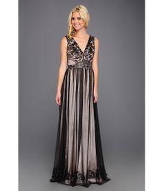 Badgley Mischka V-Neck Sequin Gown Black/Pink - Zappos.com Free Shipping BOTH Ways