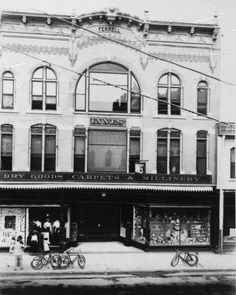 Established in 1897 by Walter P. Innes with the backing of his uncle, George Innes, this is the exterior view of the Innes retail store at its first location, 123 North Main Street in the Ferrell Building. From the Wichita.-Sedgwick County Historical Museum