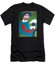 Patrick Francis Black Designer Slim Fit T-Shirt featuring the painting Man With A Feathered Hat 2014 by Patrick Francis