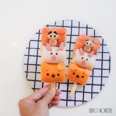 Tsum Tsum Pooh, Tigger & Piglet tuna sandwich rolls.  by Ming #bentomonsters (@bentomonsters)