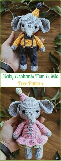 Crochet Elephant Softie and More Free Patterns Tutorials Crochet Baby Elephants Tom & Mia Amigurumi Free Pattern - Crochet Amigurumi Crochet Elephant Toy Softies Free Patterns Crochet Animal Amigurumi, Crochet Baby Toys, Crochet Amigurumi Free Patterns, Amigurumi Doll, Crochet Dolls, Free Crochet, Amigurumi Tutorial, Free Knitting, Crochet Animals