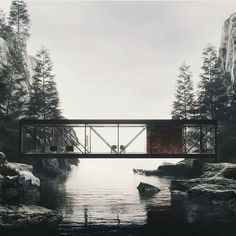 digital artist nikita shestakov gives life to modernist architect craig ellwood's unbuilt 'weekend house project' from the architectural portrayl sees an almost all-glass volume rest atop two rocks over a serene waterway see more on Contemporary Architecture, Landscape Architecture, Contemporary Design, Architecture Design, Contemporary Stairs, Contemporary Building, Contemporary Cottage, Contemporary Apartment, Contemporary Wallpaper