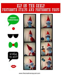 Free Printables for elf on the shelf sized photobooth props and photobooth strips Christmas Elf, Christmas Crafts, Christmas Ideas, Christmas Calendar, Christmas Stuff, Birthday Elf, L Elf, Awesome Elf On The Shelf Ideas, Diy Christmas Decorations For Home