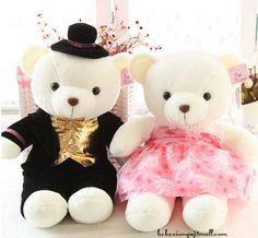 A Pair of Teddy Bear couple wedding doll