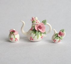 Miniature Jeweled Blossoms Tea Set  OOAK by C. by ArtisticSpirit