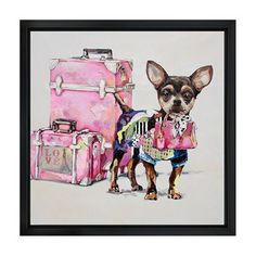 Picture Depot OP0226 Travelling Chihuahua Framed Art