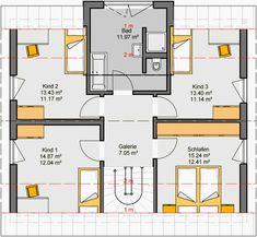 Architekten-Haus Fortuna 154 | Einfamilienhaus mit Galerie House Layout Plans, Modern House Plans, House Layouts, House Floor Plans, Home Interior Design, Planer, New Homes, Flooring, How To Plan