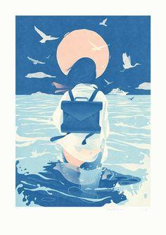 Anime Art, Ocean Illustration, Graphic Design Illustration, Digital Illustration, Character Illustration, Graphic Art, Summer Story, Peace Poster, Blue Anime