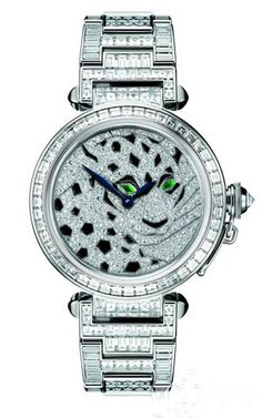 Pasha de Cartier 42mm Diamond Watch with Panther Decorations. Exceptional.