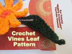 """YouTube crochet leaf vines tutorial for beginners tips. Search """"Nidhi's CrochetArt"""" YouTube channel for different Video Tutorials. #crochet #art #artist #knit #knitting #DIY #hobby #creativity #creative #flower #leaf #stitch #craft #lesson #tutorial #video #india #uk #us #london #granny #square #recycle #colorful #yarn #girl #hook #beautiful"""