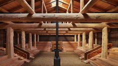 From bold structural glulam designs to striking textured wall and ceiling schemes, these award-winning building projects showcase the design possibilities using wood. Pole Barn Homes, Pole Barns, Concrete Footings, Roof Beam, Wood Logs, Timber Frame Homes, Smokehouse, Post And Beam, Log Homes
