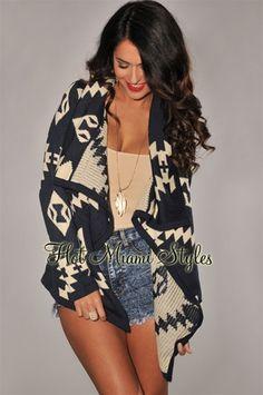 Navy-Blue Beige Aztec Print Sweater Cardigan