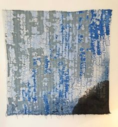 Fabric wall hanging, Textile art, Fabric art, Abstract fiber art, texture wall hanging, Small wall decor, One of a kind, Blue, Gray, Black Small Wall Decor, Gold Gift Boxes, Beautiful Textures, Hanging Wall Art, Textured Walls, Fabric Art, Textile Art, Fiber Art, Original Artwork