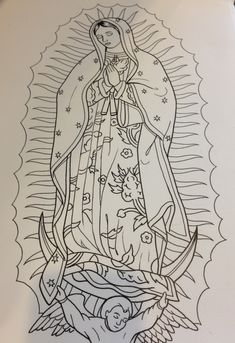 Viewing Gallery For - Virgin Mary Outline Tattoos Roses Outline Tattoo Line Art Tattoos, Body Art Tattoos, Sleeve Tattoos, Tattoo Outline Drawing, Outline Drawings, Virgen Mary Tattoo, Tattoo Sketches, Tattoo Drawings, Maria Tattoo