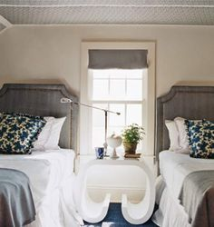 Sometimes the practical thing to do is to put a pair of twin beds in a single guest room as opposed to one larger bed, in order to maximize the number of people who can sleep in a home. But the nature Farmhouse Master Bedroom, Gray Bedroom, Two Twin Beds, Teen Bedding, Bedding Sets, Gray Bedding, Modern Bedding, Luxury Bedding, Bedding Decor