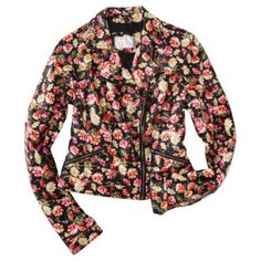Xhilaration Juniors Faux Leather Jacket -Floral Print from Target Flowers, faux leather & zippers meet motorcycle jacket!!  Why not??