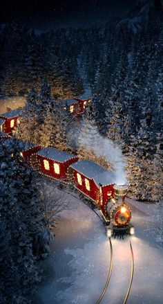iPhone and Android Wallpapers: Christmas Train Wallpaper for iPhone and Android Christmas Scenery, Cosy Christmas, Christmas Feeling, Christmas Train, Christmas Lights, Christmas Time, Vintage Christmas, Christmas Decorations, Christmas Stuff